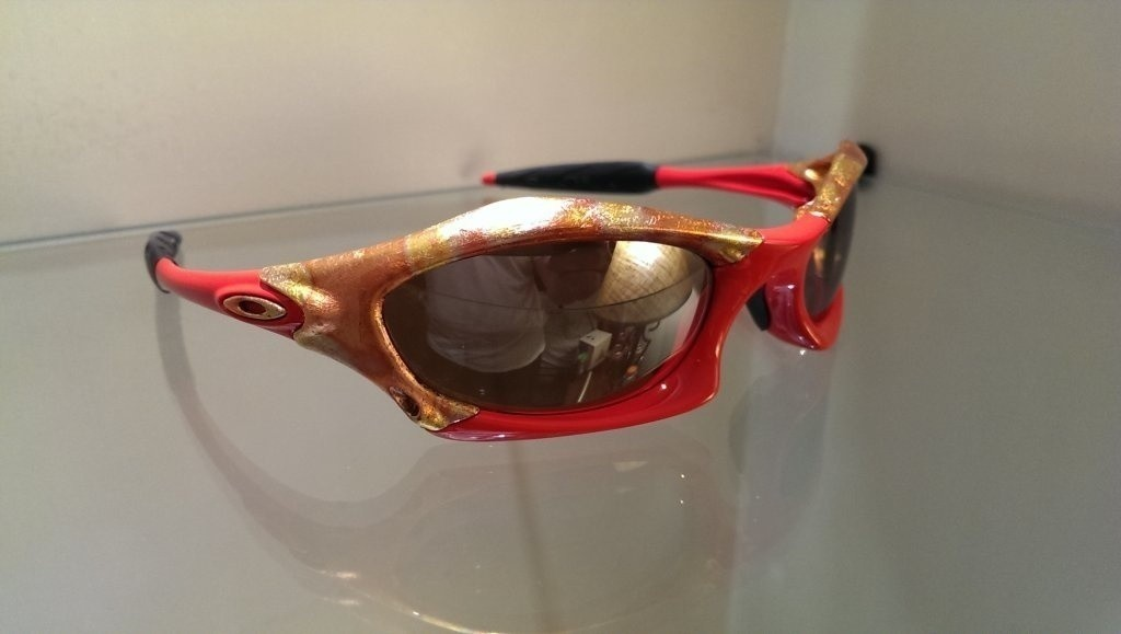 Custom Splice by dr.chop, Fire Engine Red with gold leaf and Tungsten Iridium Polarized lenses.