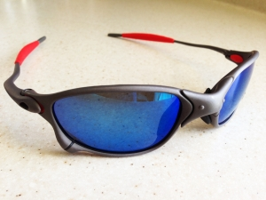 OAKLEY XX / X-METAL Sunglasses - BLUE IRIDIUM POLARIZED LENSES - Front Left View