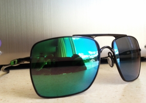 OAKLEY DEVIATION / POLISHED BLACK - EMERALD IRIDIUM LENSES