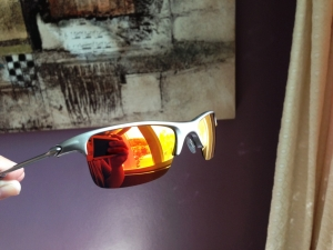 OAKLEY RAZRWIRE / MERCURY - FIRE / LIGHT GREY IRIDIUM LENSES - Front/Side View