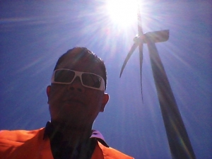 Wearing my Gascan at the Wind Farm